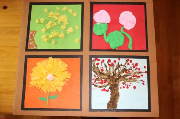 四位小朋友在老师的引导下,用皱纹纸,超轻粘土,水粉颜料等材料分别